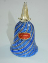 Murano Blue and Gold Swirl with Gold Flakes Italian Art Glass Bell - $66.49