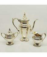Antique Wallace floral 3 Pcs ~ Coffee / Tea Pot, Creamer, Sugar Bowl w/ ... - $67.32