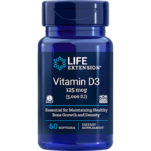 NEW Life Extension Vitamin D3 5000 IU Non-GMO for Bone Growth 60 Softgels - $11.54