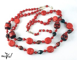 "Red Glass Double Strand Necklace w Face Beads - Vintage German - 26"" - H... - $48.00"