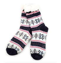 Urban-Peacock Plush Knitted Fleece Sherpa Lined Slipper Socks- Navy,Crea... - $10.95