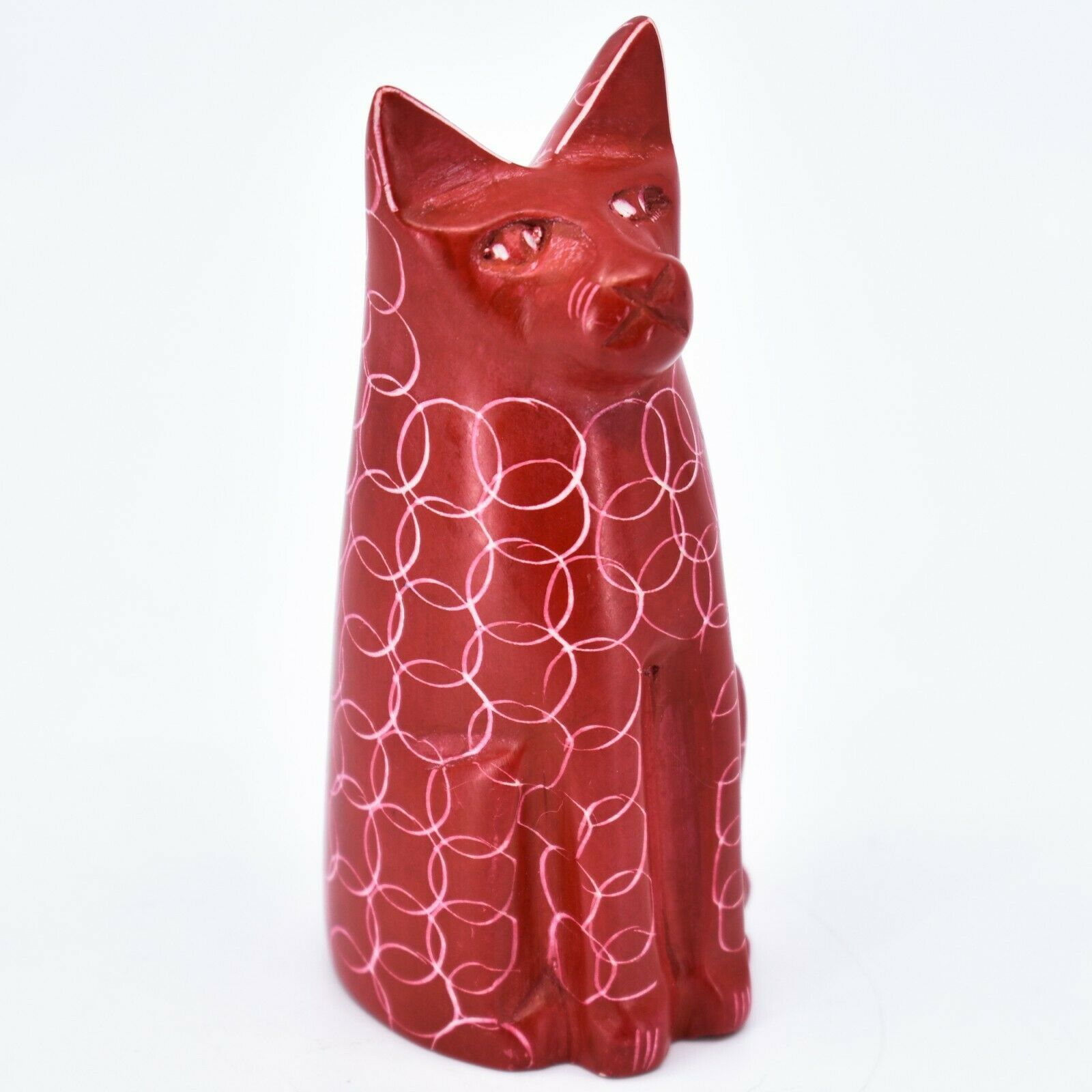 Vaneal Group Hand Carved Kisii Soapstone Red Sitting Kitty Cat Figure Made Kenya
