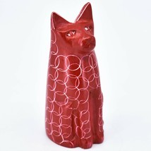 Vaneal Group Hand Carved Kisii Soapstone Red Sitting Kitty Cat Figure Made Kenya image 1