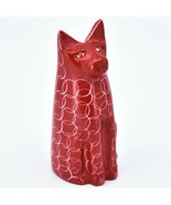 Vaneal Group Hand Carved Kisii Soapstone Red Sitting Kitty Cat Figure Ma... - $15.83