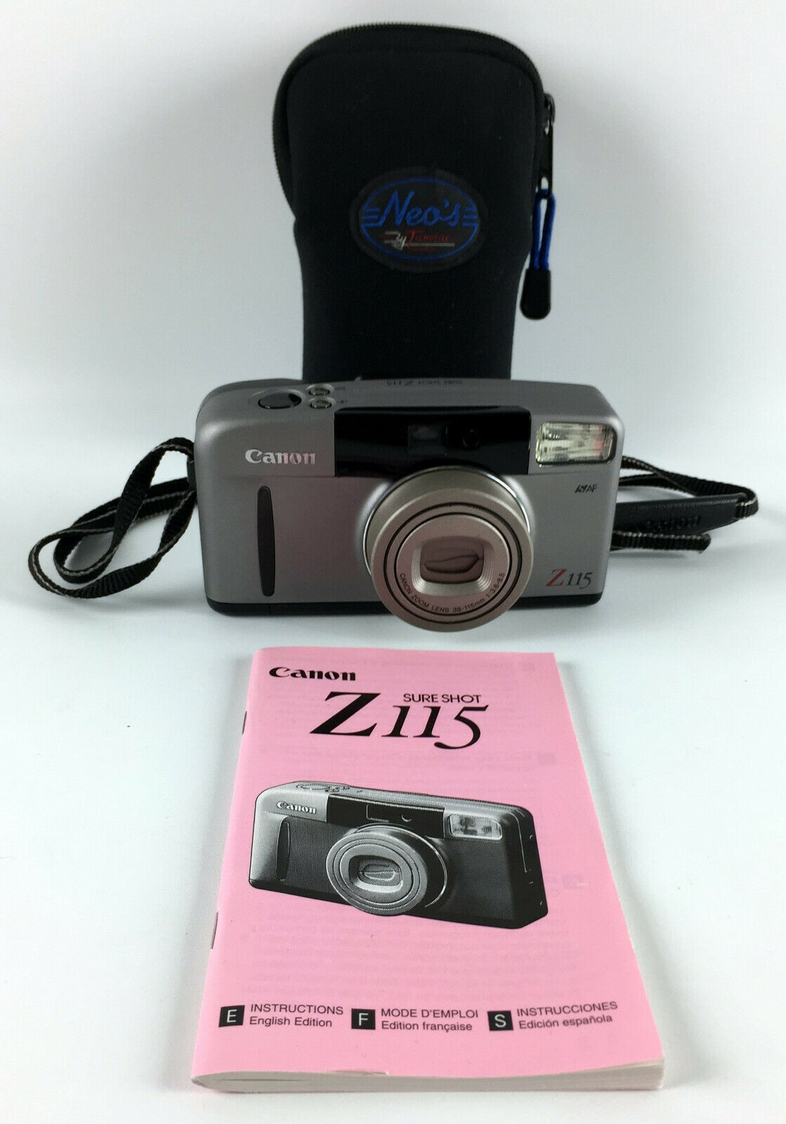 Canon Sure Shot Z115 35mm Point & Shoot Film Camera w/Instructionb Book