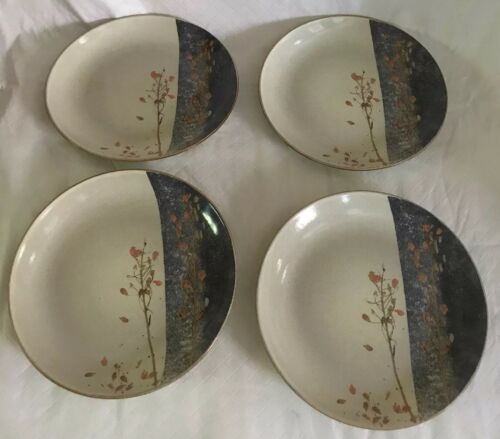 "Primary image for 222 FIFTH 4 SALAD PLATES TAINE Elegant Asian Stoneware 8 1/4"" Beige Blue Leaves"