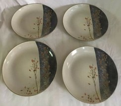 "222 FIFTH 4 SALAD PLATES TAINE Elegant Asian Stoneware 8 1/4"" Beige Blue... - $24.74"