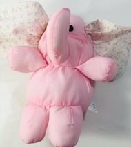 Vintage Dakin Puff Elephant Pink Baby Rattle Plush Toy Soft Fluffy Clean... - $18.43