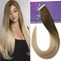 "LaaVoo 18"" Tape Remy Human Hair Extension Light Brown to Golden Blonde H... - $57.71"
