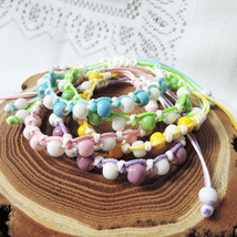 Chinese Knot Bracelet Porcelain Bead Adjustable Green Blue Pink Yellow B... - $18.00