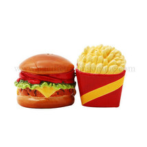 """NEW! 4"""" Burger and Fries Magnetic Salt and Pepper Shakers - £10.20 GBP"""