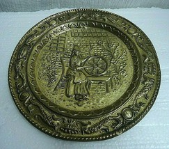 "m94 Vintage Brass Wall Plate 9.5"" Plaque Welch Woman at Spinning Wheel - $8.96"