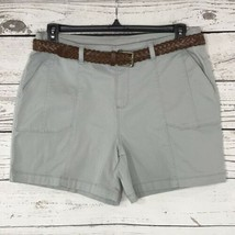 Style & Co Womens SZ 12 Shorts Chinos Gray Belted Flat Front Pockets Mid... - $19.77