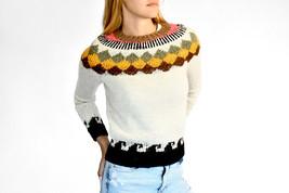 White Wool Llama Sweater, Handmade, Woman Sweater, Hand knit sweater - $95.00