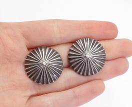 925 Silver - Vintage Dark Tone Round Fluted Non Pierce Clip On Earrings ... - $31.89