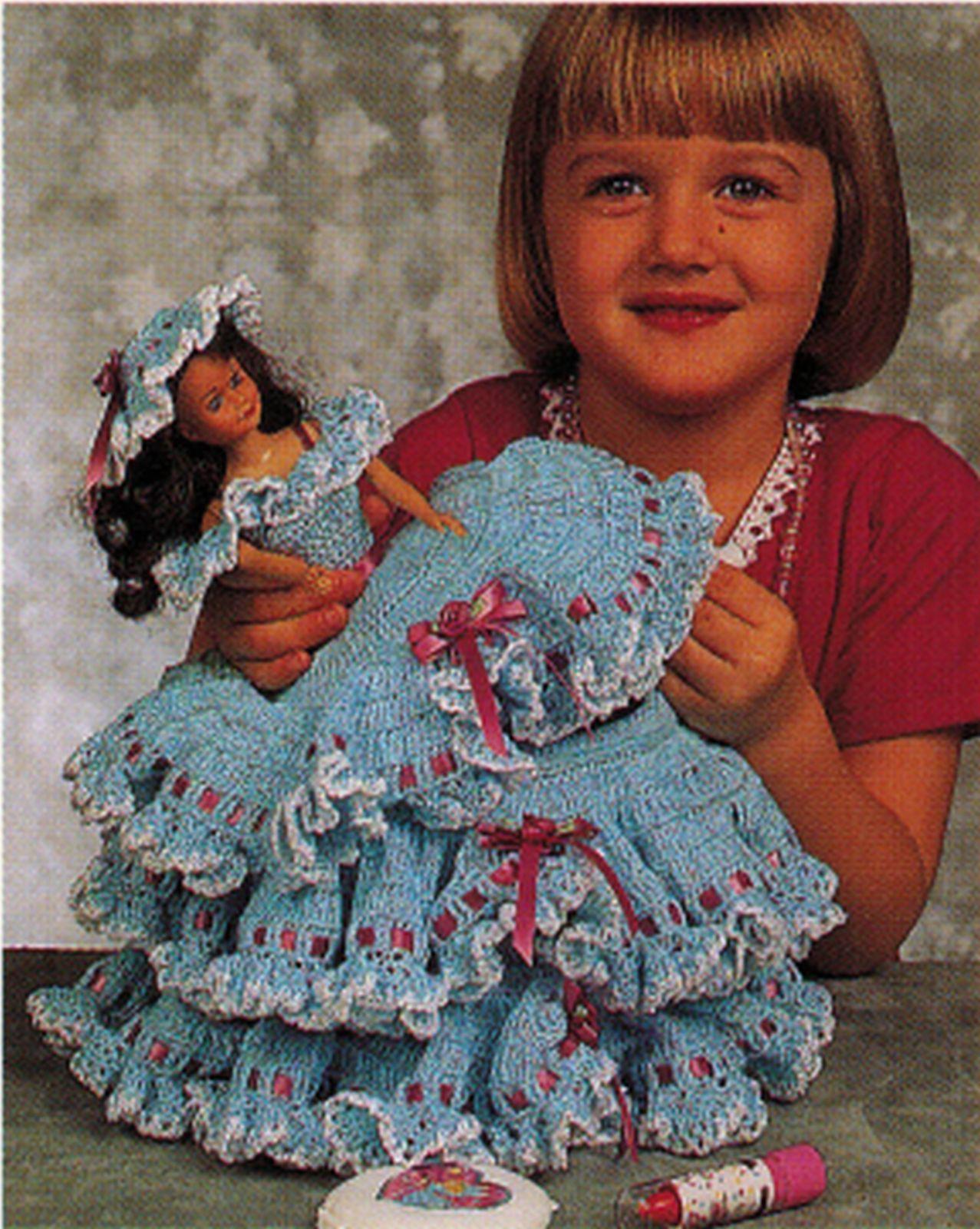"3X Barbie 11-1/2"" Doll Angel Frills & Ruffles & Bows Trinket Box Crochet Pattern image 4"