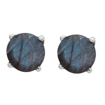 Shine Jewel Round Cut Labradorite 7.00 MM Blue Flash Gemstone Tiny Stud ... - $8.47