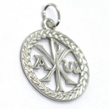 SOLID 18K WHITE GOLD MONOGRAM OF CHRIST PENDANT, PEACE, MEDAL, 0.8 INCHES image 2