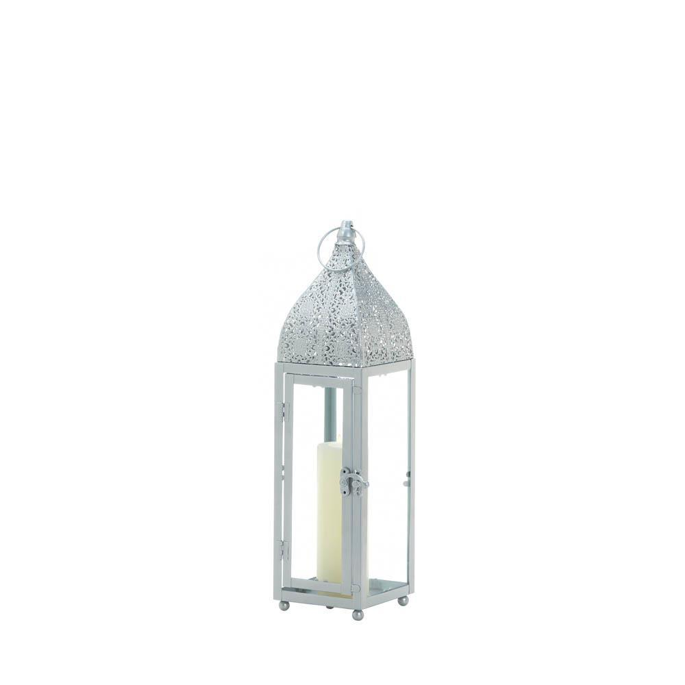 Small Silver Moroccan Style Candle Lantern Intricate Design on Top