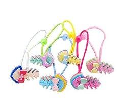 Set of 12 Cartoon Design Hair Tie Bands Rubber Ropes Hair Rings, Fish Bones