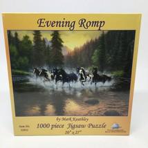 "New ""Evening Romp"" 1000 Pc Puzzle Mark Keathley Sunsout- Wild Horses 20""... - $20.56"