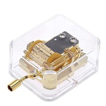Helen Zora 18 note Acrylic Clear Gold Hand Cranked Gurdy Musical Mechani... - $7.81