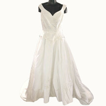Oleg Cassini Wedding Dress Womens S  David Bridal White Floral Embroider... - $198.00