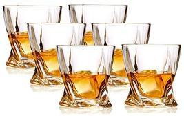 Whiskey Glasses set of 6 Crystal Old Fashioned Rock Glass Scotch Bourbon... - $26.68