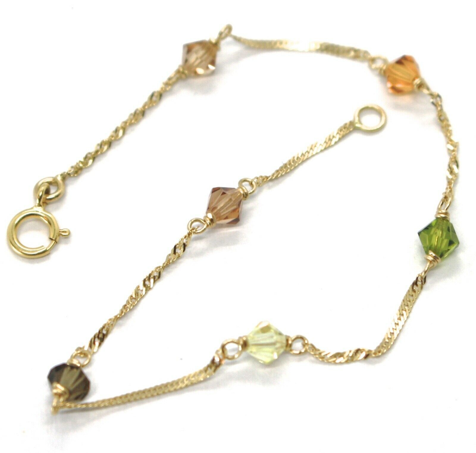 18K YELLOW GOLD BRACELET, ALTERNATE FACETED MULTI COLOR CRYSTALS SINGAPORE CHAIN