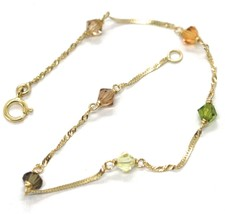 18K YELLOW GOLD BRACELET, ALTERNATE FACETED MULTI COLOR CRYSTALS SINGAPO... - $89.00