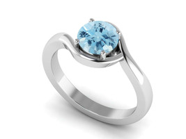 925 Sterling Silver Natural Blue Topaz Round 7 MM Engagement Delicate Wo... - $26.46