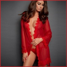 Erotic Red Lace Trimmed Transparent Long Sleeve Belted Kimono Robe & G String