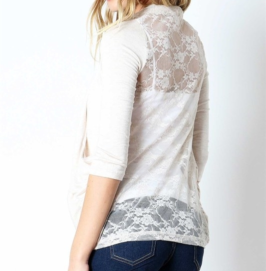Beige Layering Lace Back Cardigan, Heather Beige 3 Quarter Sleeve Rayon Layering