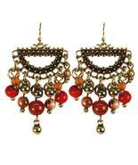 Treska Saffron Sunset Glass Bead Fringe Half-Ring Earrings - $22.95