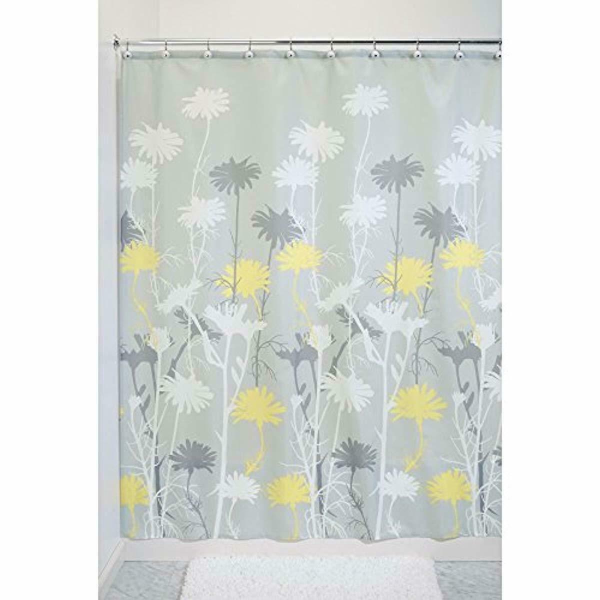 Mustard Yellow Grey Daisy 180 x 180 cm Shower Curtain Waterproof Shower Screen