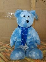 "Ty Beanie Buddy1999 HOLIDAY TEDDY Blue w/ White Snowflakes Scarf 13.5"" NWT Large - $7.99"