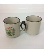 Two 2 Stoneware Floral Coffee Tea Cocoa Mugs Cups 10 oz Orange Poppy Green - $17.75