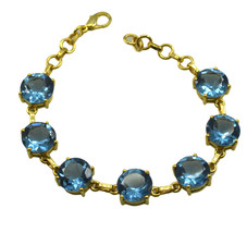 pleasing Blue Topaz CZ Gold Plated Blue Bracelet Natural jaipur US gift - $18.80