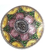 Gorgeous Lg Hand Painted Lacy Glass Button - Yellow - Pink - Green Flowe... - $15.83