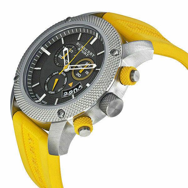 Burberry BU7712 Sport Chronograph Black Dial Yellow Rubber Mens Watch