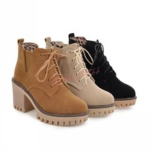 Women Lace Up British Style Ankle Boots Round Toe Suede Mid Block Heels ... - $125.00