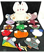 Bunny Rabbit Cookie Jar Interchangeable Clothing For Holidays All Wood 1... - $39.59