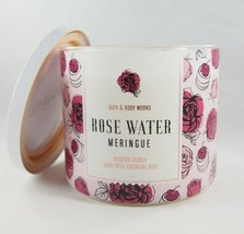 (1) Bath & Body Works Rose Water Meringue Pink 3-wick Scented Candle 14.... - $23.70