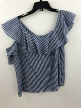 Madewell Cold One-shoulder Ruffle Top In Stripe Womens 10 Linen Blend A2... - $24.14