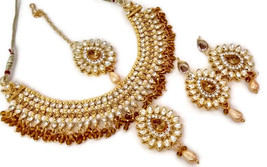 Indian Ethnic GoldPlated Kundan Yellow Fashion Bridal Jewellery NecklaceSet - $13.70