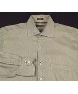 Peter Millar White Brown Dress Shirt Geometric Pattern Cotton Sz M - $19.99