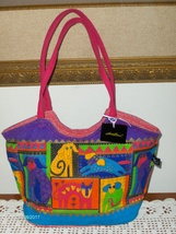 Laurel Burch Satchel Cats & Dogs Canvas Colorful Purse Handbag Tote Bag ... - $14.00