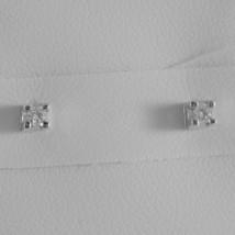 18K WHITE GOLD MINI SQUARE EARRINGS DIAMOND DIAMONDS 0.10 CT, MADE IN ITALY  image 1