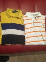 Ralph Lauren Polo American Eagle Cotton Striped M Mens Yellow Orange Men AA54 - $18.37