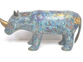 MONUMENTAL VINTAGE ANTIQUE CHINESE CLOISONNE RHINO FIGURE STATUE W/ GOLD - $7,500.00